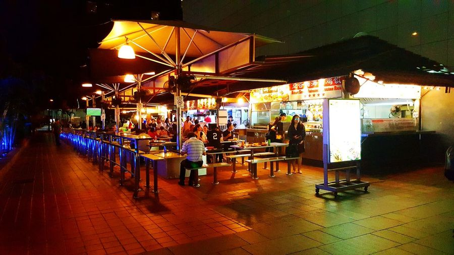 Hawkers Food Illuminated Table Food And Drink Industry Cafe Restaurant Umbrella Outdoor Cafe Shelter Canopy