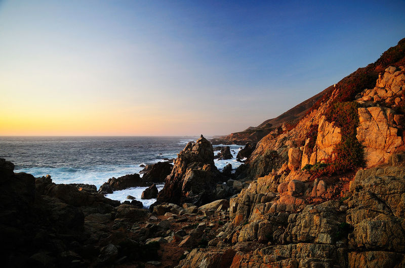 Highway One Highway 1 Ocean Sunset  Beauty In Nature Clear Sky Cliff Day Highway One Horizon Over Water No People Outdoors Pacific Ocean Pacific Ocean Sunset Remote Rock Rock - Object Rock Formation Rocks Scenics Sea Seascape Sky Sunset Tranquil Scene Tranquility Water
