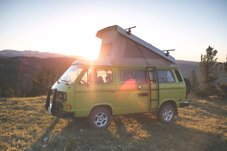 Getting out there in Barb the Barbarian. Vanlife Campervan Westfalia Nomadic Traveller Road Trip American West Green Color Sunlight Mountain Lens Flare Outdoors Environment Landscape Land Vehicle Transportation Adventure