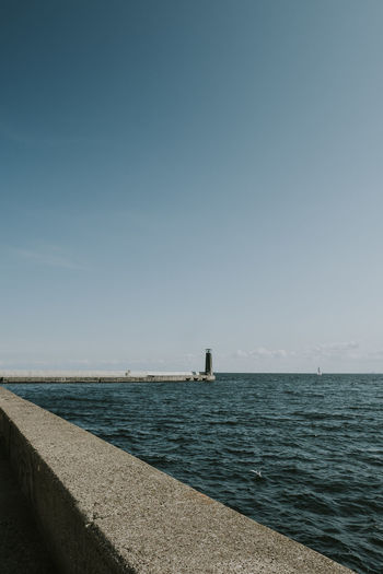 Baltic Sea Harbour Lighthouse Clear Sky Concrete Copy Space Horizon Horizon Over Water No People Port Scenics - Nature Sea Seaside Tranquil Scene Water