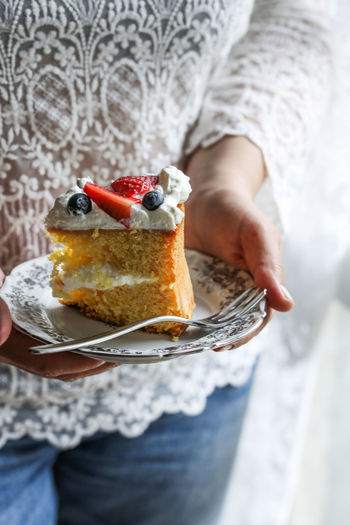 Slice of cake Food Food And Drink Sweet Food Fruit Sweet Dessert Cake One Person Freshness Indulgence Baked Midsection Berry Fruit Ready-to-eat Slice Of Cake Temptation Holding No Recognizable People