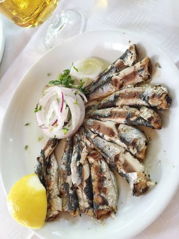 Food And Drink Plate Food Seafood Healthy Eating Fish Sardines Seafoods Table No People Sardine Seafood Food And Drink Serving Size Beer