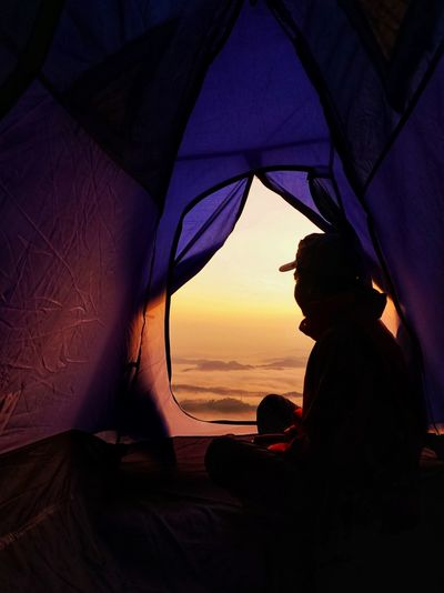 good morning... Mountain Stong, Jelawang, Kelantan, Malaysia. Hiking Mountain Sunset Real People Water Sea Leisure Activity One Person Silhouette Men Orange Color Outdoors Travel