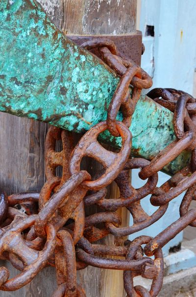 Rusty Metal Wood - Material Close-up No People Chain Weathered Day Outdoors Patina