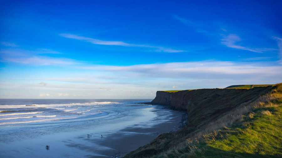 North East Beauty In Nature Blue Cliff Day England Horizon Over Water Landscape Nature No People Outdoors Physical Geography Rock - Object Saltburn Scenics Sea Sky Tranquil Scene Tranquility Travel Destinations Uk Water
