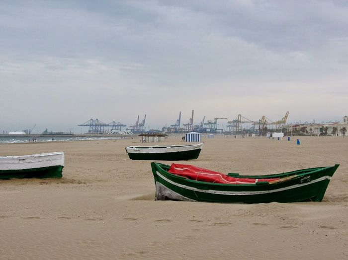 Nautical Vessel Beach Sky No People Daytime Of Storm red and green colors Valencia Spain