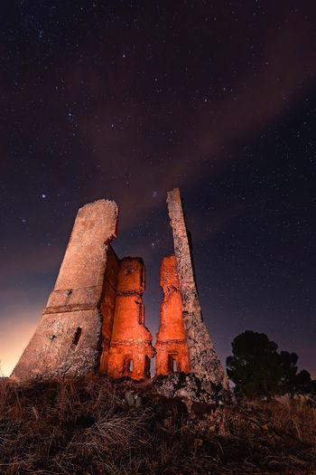 Old óptico telegrah Old Ruin Travel Destinations Night Sky Built Structure Abandoned Star - Space Outdoors No People Illuminated Nightphotography Light In The Darkness Light Effect Light Painting Old Architecture Building Exterior Architecture Shadows & Lights Light And Shadow Light And Dark
