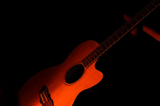 Arts Culture And Entertainment Black Background Canonphotography Guitar Music Musical Instrument Musical Instrument String My Guitar ♡ Night No People Red