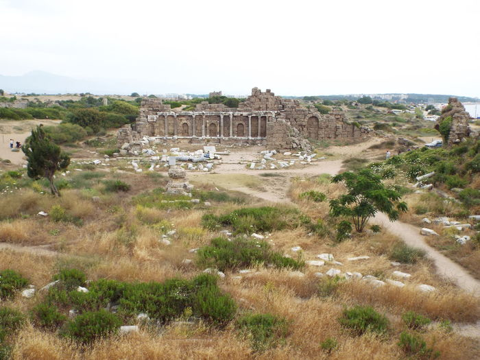 The building in this picture was the State Agora in Side, Turkey. It was built in the 2nd century AD. Located in the Sand dunes near the Byzantine hospital and the Roman Ampitheatre behind me as I took the photograph. The building was the governmental centre of Side Sky - Clouds Cloud - Sky Cloudy Sky Cloudy Clouds - Sky Tourism Ancient Ruins Ancient Architecture Ancient Side, Turkey 💗 Side Historical Historic Site History Through The Lens  Tourist Attraction  Tourist Destination Roman Ruins Roman Empire Pillars