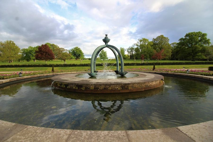 Water Sky Fountain Cloud - Sky Tree Reflection Nature Day Waterfront No People Tranquility Outdoors Tranquil Scene Beauty In Nature Scenics Drinking Fountain Statue Grass Dumfries House