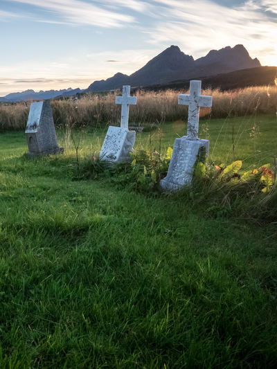 Borg Cemetery Cross Day Field Grass Gravestone Graveyard Green Color History Landscape Lofoten Lofoten Islands Memorial Mountain Nature No People Norway Outdoors Religion Sky Spirituality The Past Tombstone Tranquility