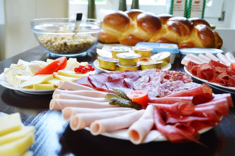 Breakfast Table Foodphotography Food Morning Bread & Butter Bread Cheese Breakfast Sausage Sausages! BreakfastTime  Breakfast Time Breakfast Food Food And Drink Freshness Ready-to-eat Table Still Life Indoors  Plate No People Variation Meat Selective Focus