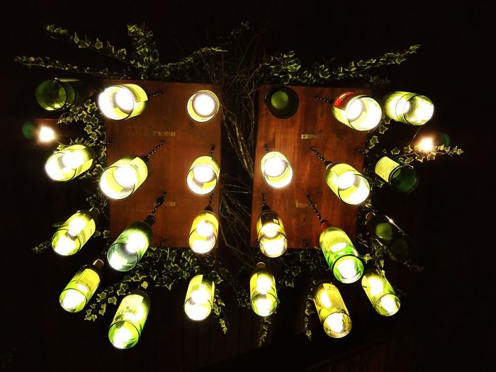 No People Close-up Indoors  Day Philippines Baguio City Indoors  Low Angle View Lodge Cabin In The Woods Wood Light Bulb Wine Bottles On Display DIY Art Arts And Crafts Beautifully Organized Ceiling Lights Ceiling Mood