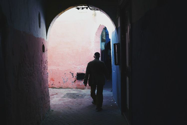 Morocco Photos My Point Of View Alley One Man Only Outdoors Light And Shadow Back Street Miro Miro Alley Travel Tourism Full Length Architecture Adult Built Structure People Day Only Men One Person Morocco