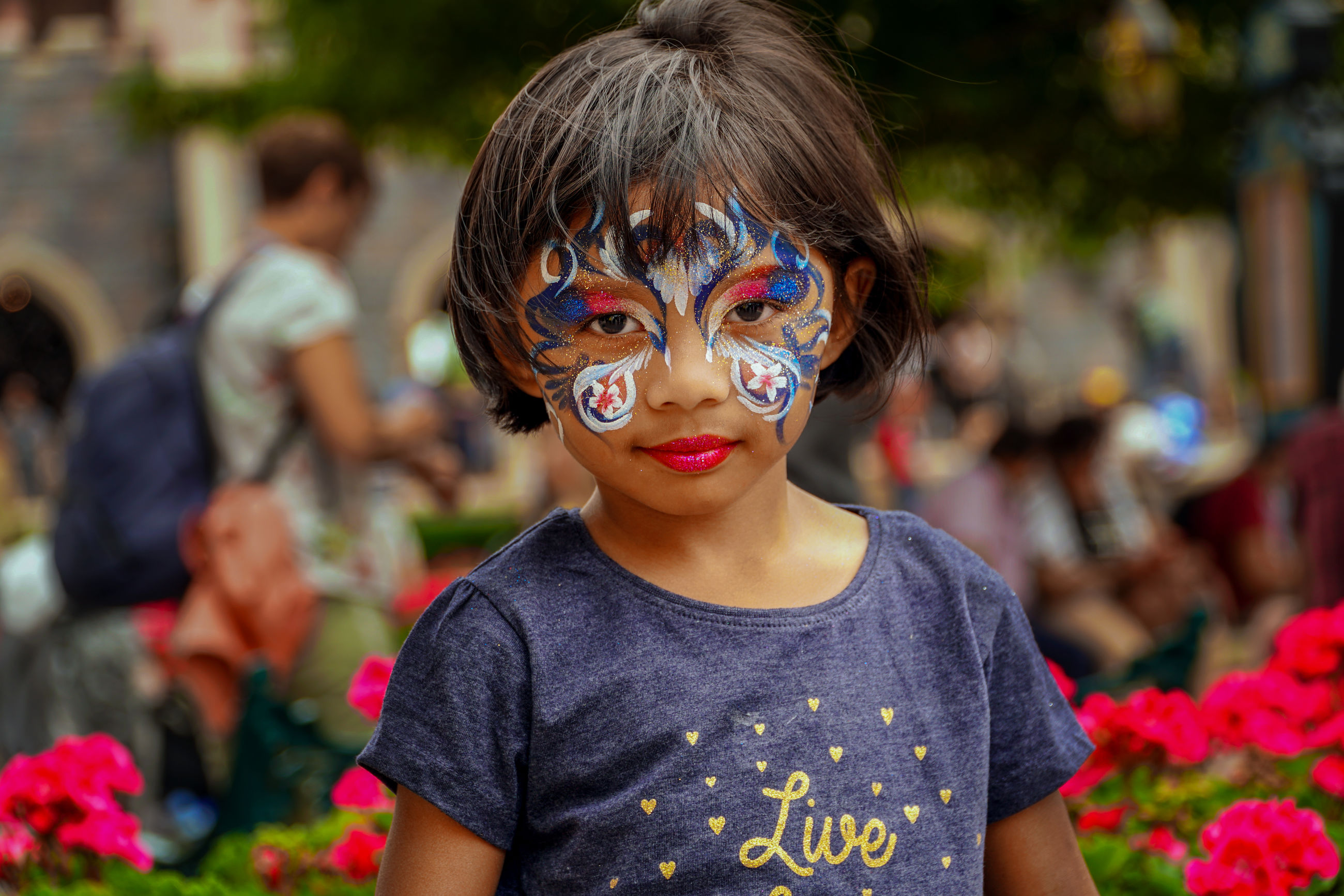 portrait, child, front view, childhood, headshot, real people, one person, looking at camera, focus on foreground, incidental people, boys, face paint, innocence, leisure activity, paint, lifestyles, flower, casual clothing, hairstyle