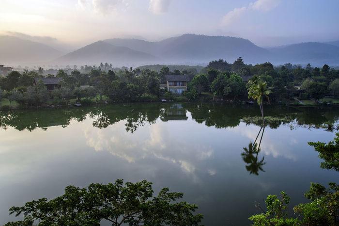morning over the lake, khao yai, thailand Khao Yai Morning Reflection Thailand Clouds Lake View Lakeshore Lakeside Landscape Misty Morning Mountain Sky Water