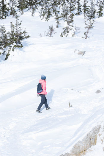 Rear view of woman on snowcapped mountain