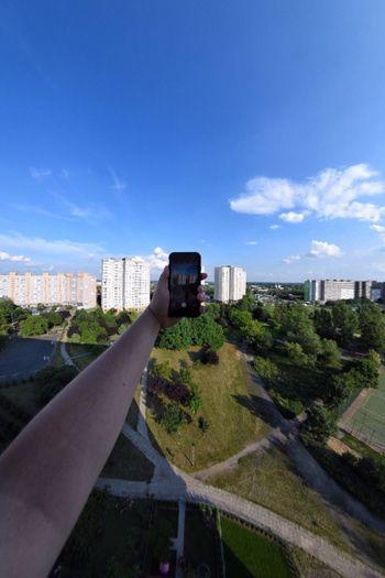 Fisheye Distortion Hand Smartphone Holding Panorama View Cityscape Photography