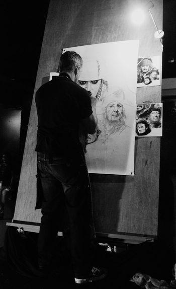 Blackandwhite Artist Painting Drawing People