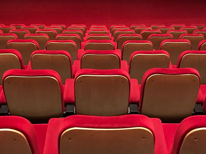 High angle view of empty seats in movie theater