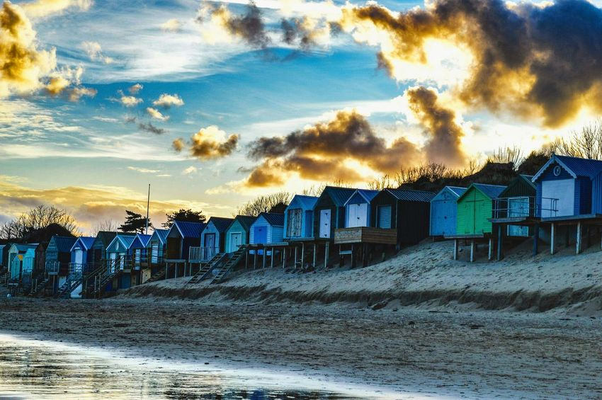 Beachhut Wintersunset sunset #sun #clouds #skylovers #sky #nature #beautifulinnature #naturalbeauty photography landscape The Great Outdoors - 2016 EyeEm Awards