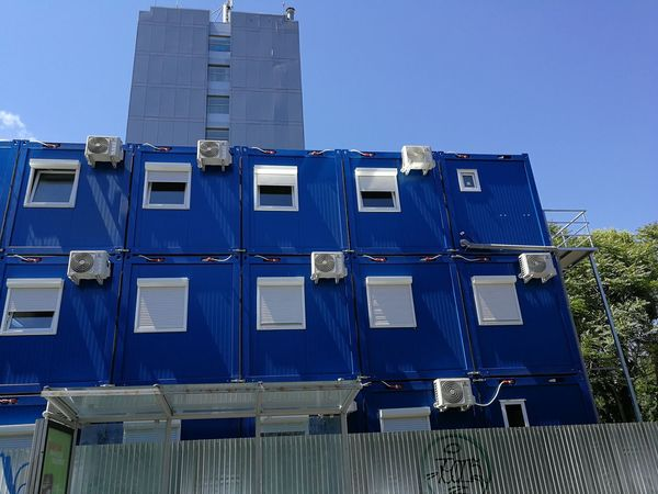 Containers Container Office Blue Sky Architecture Building Exterior Built Structure