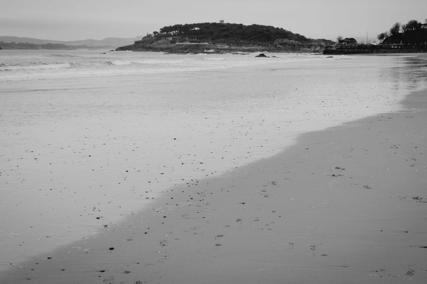 Sardinero Beach, Santander. Black & White Oceanside Santander Beach Beauty In Nature Blackandwhite Foam Foamy Waves Foot Prints Geometric Shape Land Nature Ocean Outdoors Scenics - Nature Sea Sky Tide Tracks In The Sand Tranquil Scene Tranquility Water Water_collection Waves Waves, Ocean, Nature