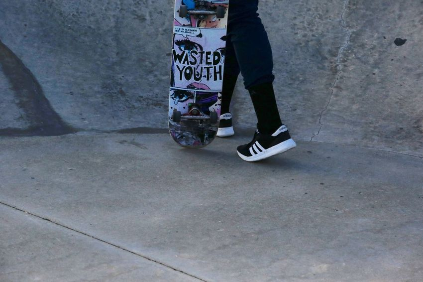 Wasted youth? Maybe not so much.... Concrete Skate Park Fun Concrete Skateboard JGLowe Low Section Real People Lifestyles One Person Leisure Activity Human Leg Day Casual Clothing Transportation Shoe