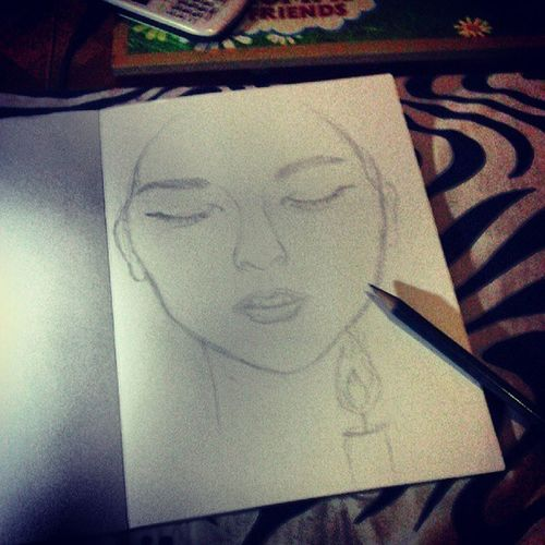 Ready to draw again Sandara 2NE1 Inspired Sketch unfinished