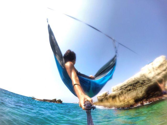 Hammock Relaxing Hello World EyeEm Best Shots Taking Photos Lebanon Sun Sea Blue Gopro