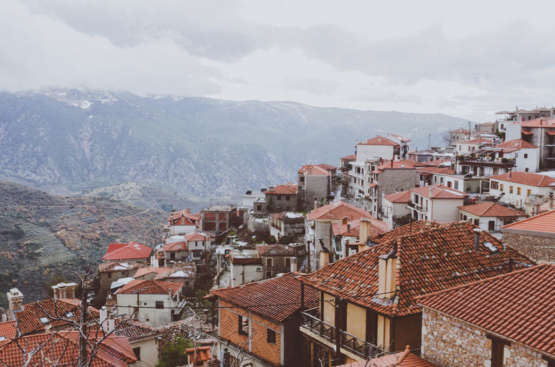 Arachova Cityscape Cloudy Sky Parnassus Rural Arachova Architecture Building Exterior Built Structure City Day Greece Landscape Mountain No People Outdoors Parnassos Residential  Roof Sky Tiled Roof  Town Traditional Village