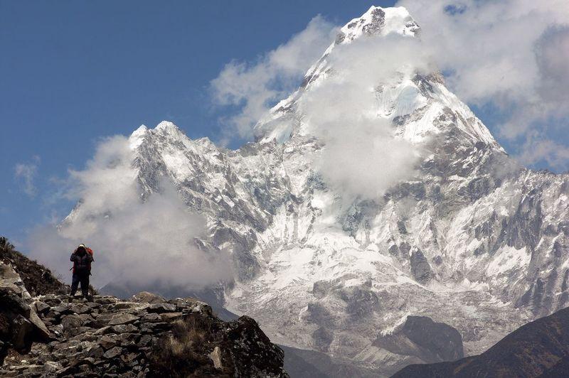 Scenic view of ama dablam mountain