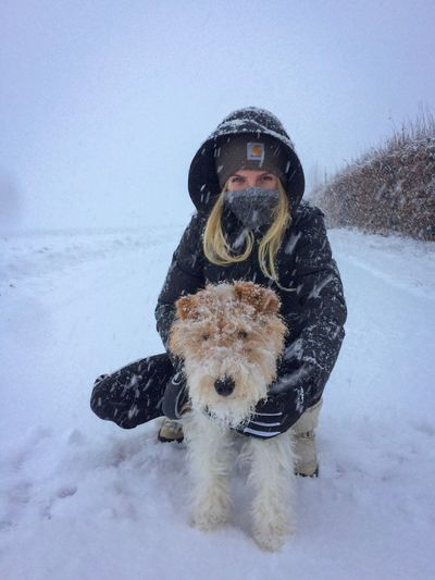 Dog Snow Pets Winter Cold Temperature Domestic Animals Animal Themes One Animal Outdoors Full Length Nature Warm Clothing