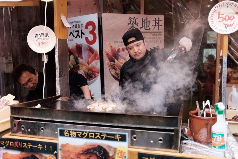 Fish Urban Food Market Japan Men Text Business Food And Drink People Smoke - Physical Structure EyeEmNewHere