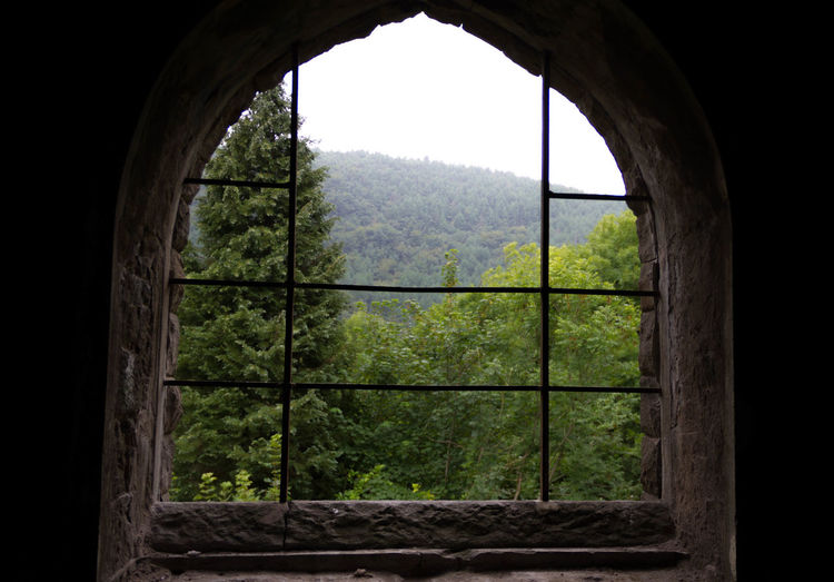 Church Grass Green Color Hill Mountain Nature No People Remote Ruin Ruined Tranquil Scene Tranquility Trees Window