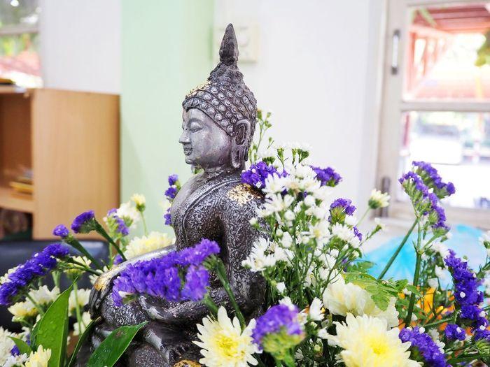 Buddha statue decoration with fresh flower Buddha Buddist Celebrate Ceremony Worship Culture Asian  ASIA Religion Pray Worship Flower Flower Head Statue Close-up