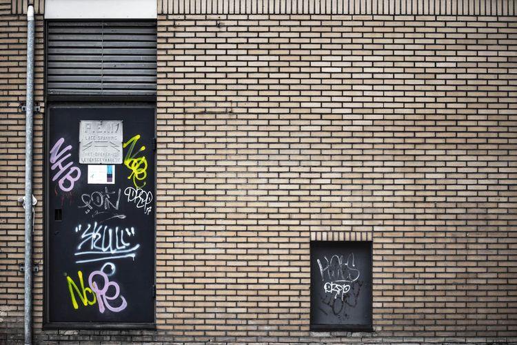 Graffiti on building door