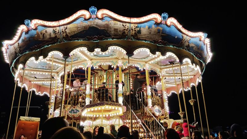 childhood Amusement Park Arts Culture And Entertainment Carousel Amusement Park Ride No People Low Angle View Night First Eyeem Photo