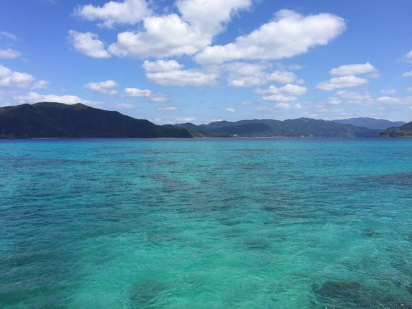 Water Scenics Beauty In Nature Nature Sky Mountain Sea Tranquility Tranquil Scene No People Day Idyllic Cloud - Sky Outdoors Landscape Blue Green Color Blue Water Blue Sea Bluecolor Winter Sea Amami Island Kagoshima