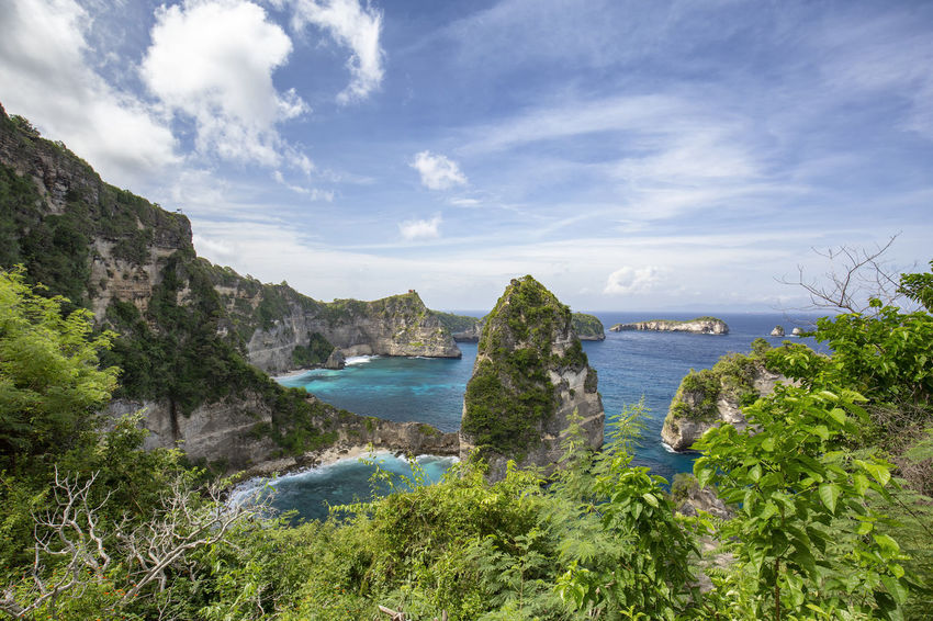 Tropical plants frame the Raja Lima islands in the distance on Nusa Penida, Indonesia. ASIA Atuh Beach Bali Diving Hindu INDONESIA Indonesian Nusa Batupadasan Shrine Tourist Travel Ampoak Atuh Balinese Beach Destination Klungkung Landscape Lebah Nusa Batumategan Nusa Penida Pejukutan Raja Lima Tourism Tropical