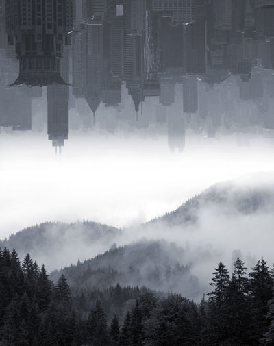 Digital composite image of trees and buildings against sky