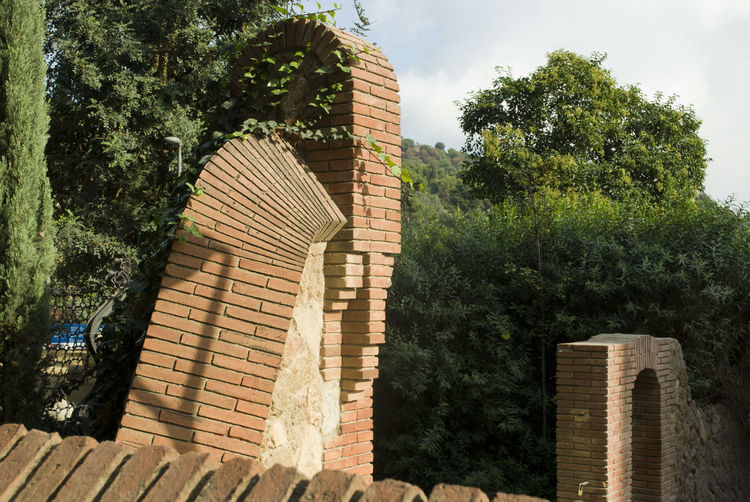 Brick Architecture Building Exterior Built Structure Day Geometry Indian Interesting Perspectives Low Angle View Nature No People Outdoors Redskin Sky Steps Tree