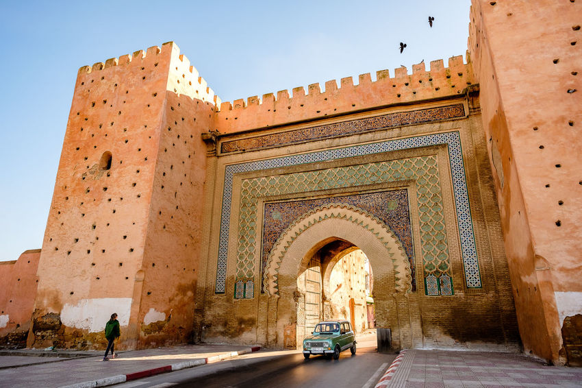 Bab El Khemis Gate Meknès Morocco Old Town Travel Arch Architecture Building Exterior Built Structure Citywall Clear Sky History Outdoors Sky Street Streetphotography Tourism Travel Destinations