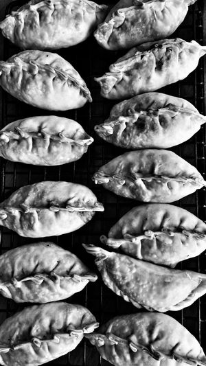 Directly Above Shot Of Dumplings On Cooling Rack