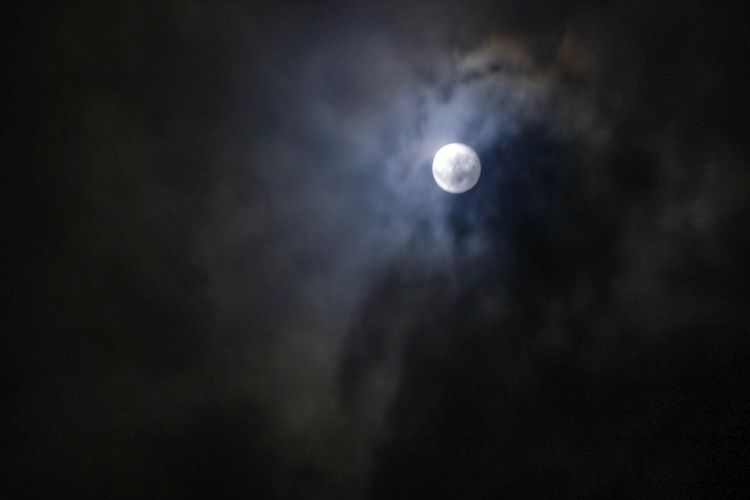 Night Moon Sky Space Astronomy Beauty In Nature Low Angle View Dark Scenics - Nature Tranquility Nature No People Cloud - Sky Tranquil Scene Moonlight Outdoors Planetary Moon Overcast