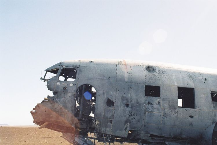Abandoned Airplane Against Clear Sky