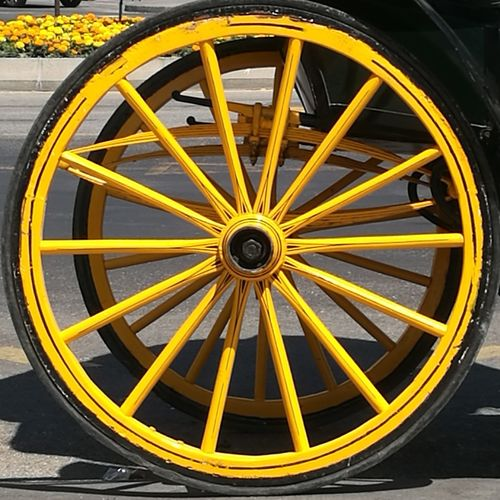 Wheel Circle Transportation No People Day Gear Tire Outdoors Clock Close-up Yellow circle Horse Carriage Wheels