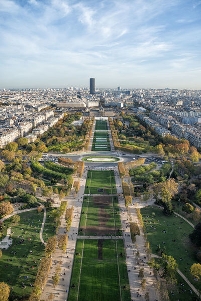 Champ De Mars France Paris Tour Montparnasse Aerial View Architecture City Cityscape Outdoors Park Sky Tower View From Eiffel Tower
