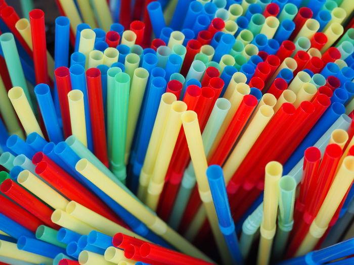 Full frame shot of drinking straws