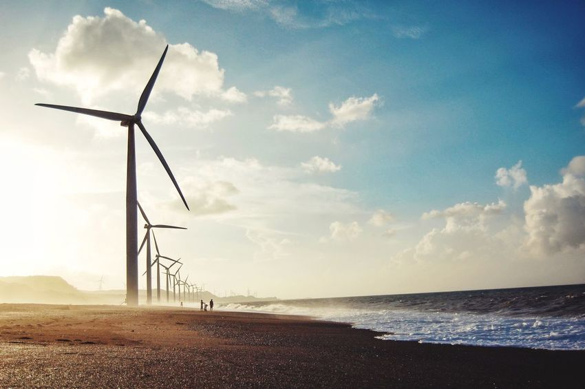 The Breeze Of Sunset Tranquility Outdoors Nature Tranquil Scene Sky Water Rural Scene Idyllic Eyeem Philippines Sunset Silhouettes Beauty In Nature Nature Photography Windy Wind Farm Lovely Landscape Fresh On Market 2016